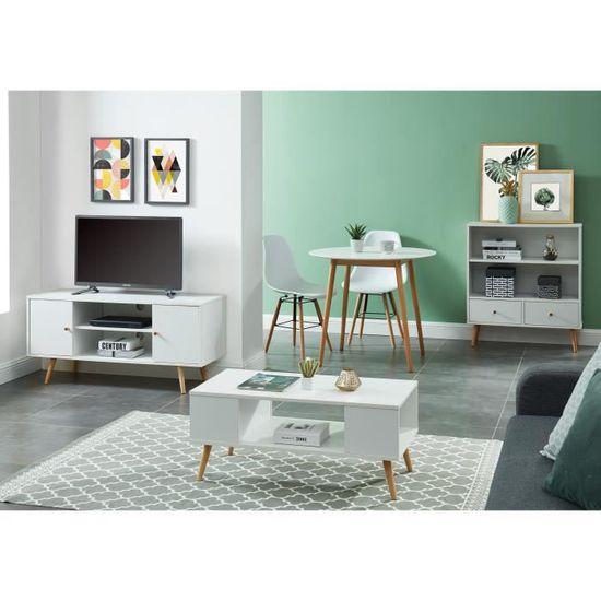 Meuble Tv Scandinave Decor Blanc Pieds En Bois Eucalyptus L 116 Cm Babette Achat Vente Meuble Tv Meuble Tv Blanc Babette Cdiscount