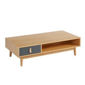 TABLE BASSE CAMBRIDGE Table basse poignée en cuir - Décor chên
