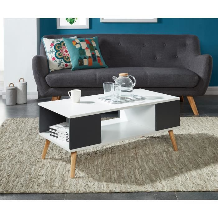 babette table basse 90x45 cm blanc et anthracite achat. Black Bedroom Furniture Sets. Home Design Ideas