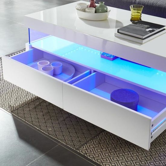 SEZANNE Table basse avec LED style contemporain laqué blanc brillant ...