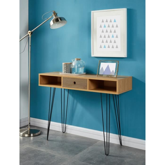 colette console scandinave d cor ch ne et impression vintage 100 cm achat vente console. Black Bedroom Furniture Sets. Home Design Ideas