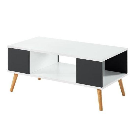 Babette Table Basse Blanche Et Grise Foncee L 90 X P 45 X H 38 7