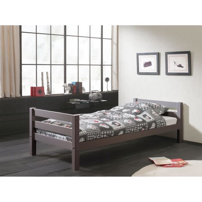 pino lit enfant 90 x 200 cm gris achat vente structure. Black Bedroom Furniture Sets. Home Design Ideas