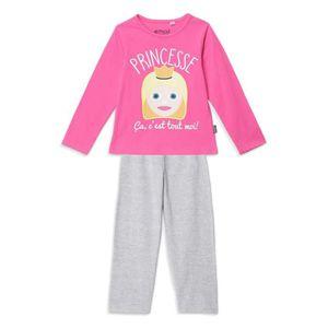 PYJAMA EMOJI Pyjama Rose et Gris Enfant Fille
