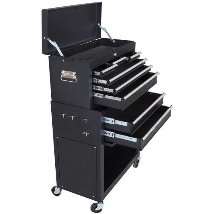MANUPRO Servante d'atelier à outils 8 compartiments - Coffre malle rangement amovible...