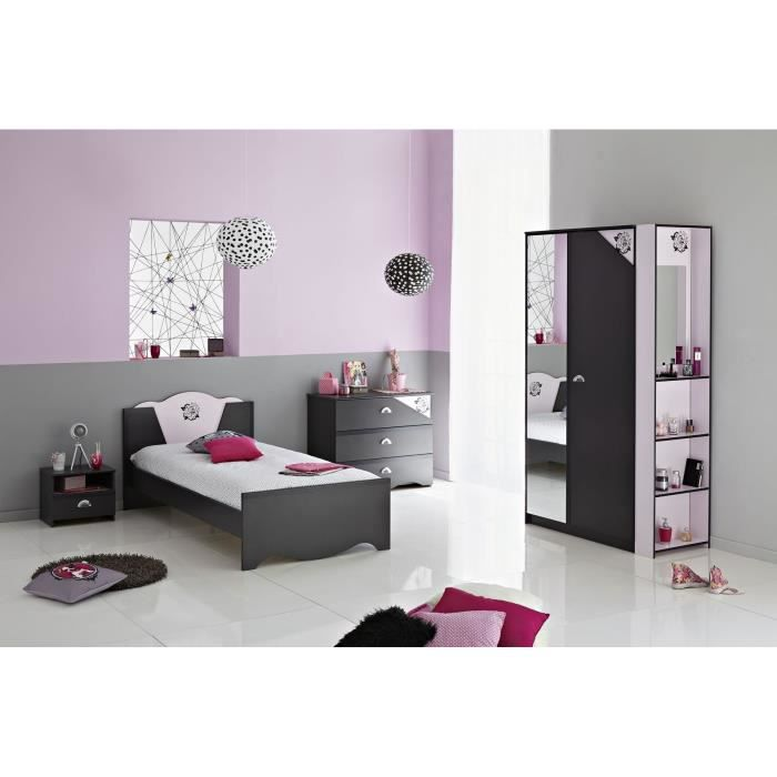 rock ensemble chambre enfant gris ombre rose achat. Black Bedroom Furniture Sets. Home Design Ideas