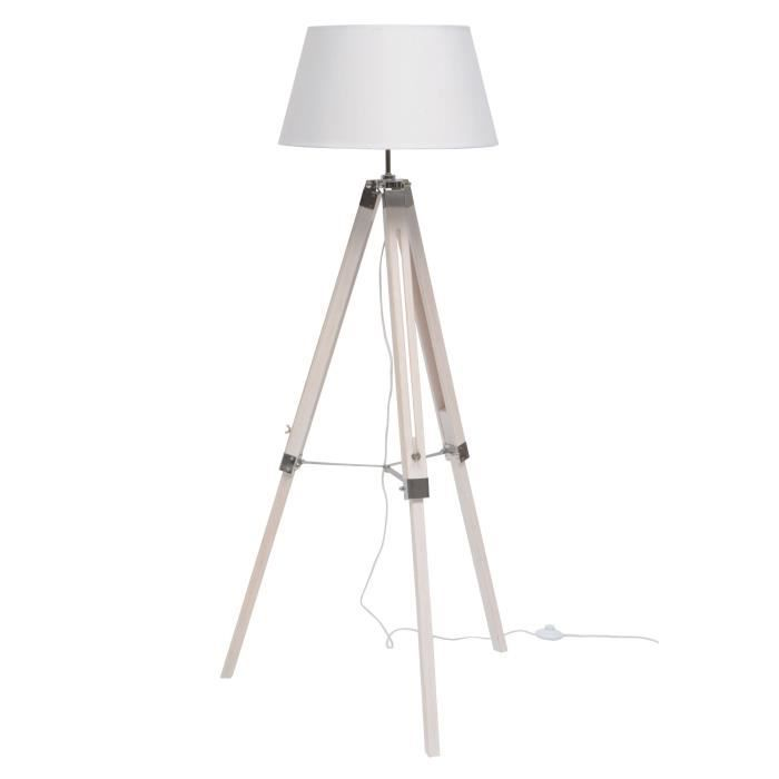 lampadaire poser nature e27 40 w blanc achat vente nature lampadaire bois blanc blanc. Black Bedroom Furniture Sets. Home Design Ideas