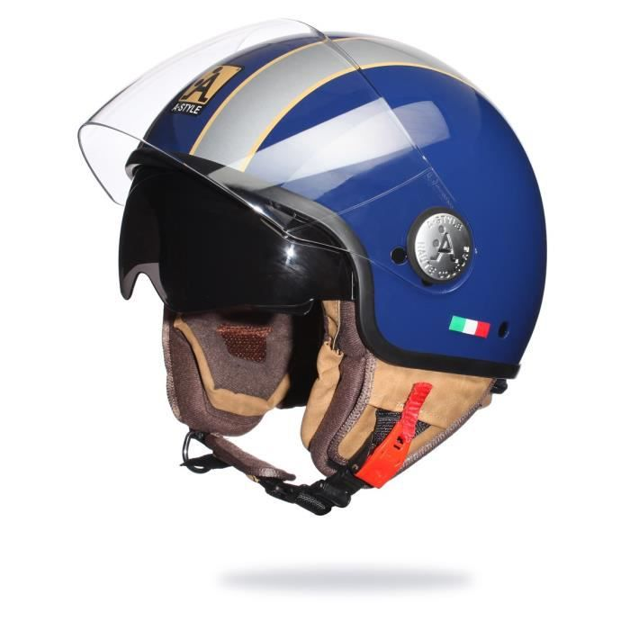 a style casque scooter moto jet bleu et gris double. Black Bedroom Furniture Sets. Home Design Ideas