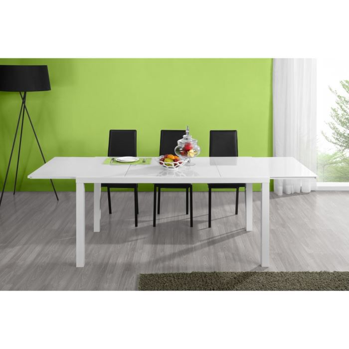 Table extensible 160 240 cm en verre blanc captain for Table verre blanc extensible