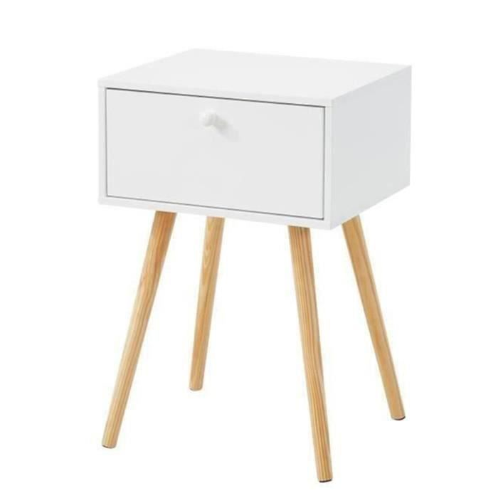 Hortense Table De Chevet Scandinave Blanc Laqué Satiné L 40 Cm