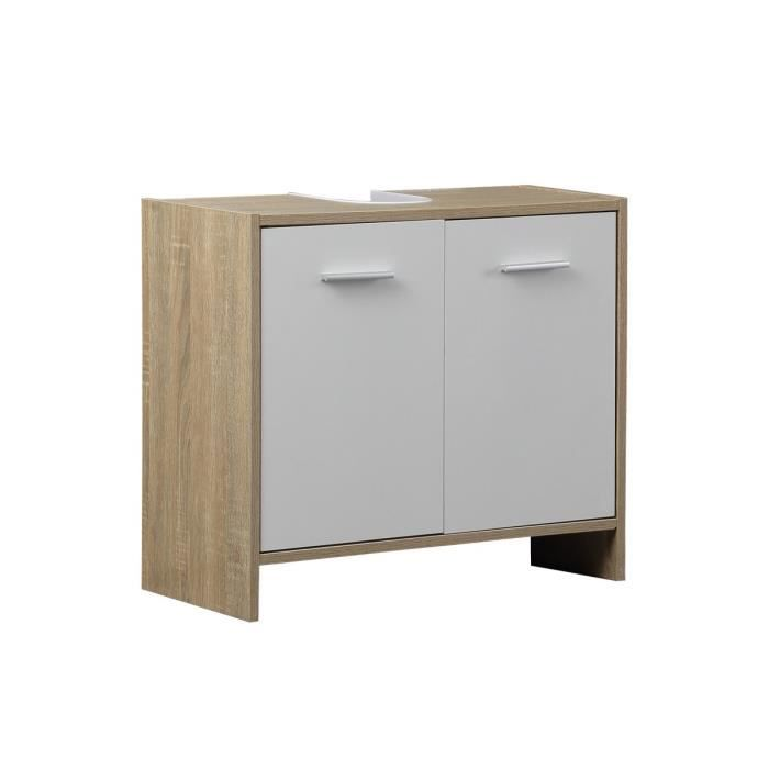 jules meuble sous vasque 63 cm d cor ch ne et blanc achat vente meuble vasque plan jules. Black Bedroom Furniture Sets. Home Design Ideas