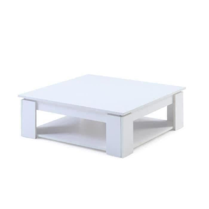 Manhattan table basse carr e blanc achat vente table for Table basse carree blanc laquee