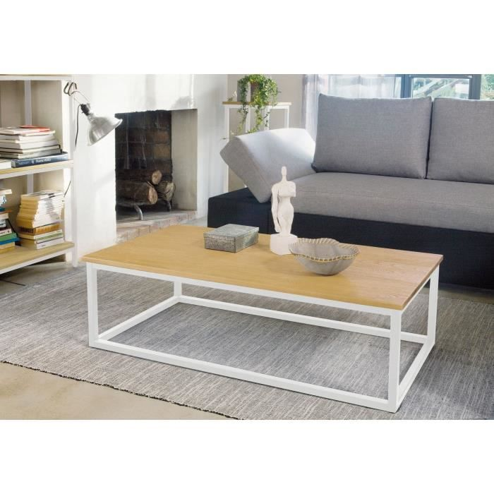 scandi table basse rectangulaire ch ne blanc achat. Black Bedroom Furniture Sets. Home Design Ideas