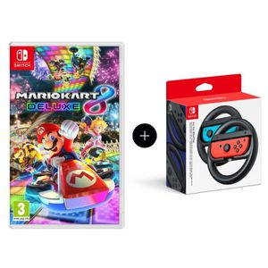JEU NINTENDO SWITCH Mario Kart 8 Deluxe Jeu Switch + Paire de volants