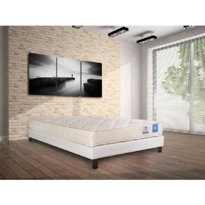 benoist belle literie ensemble matelas sommier 140x190cm 20cm mousse bio ferme 35kg m achat. Black Bedroom Furniture Sets. Home Design Ideas