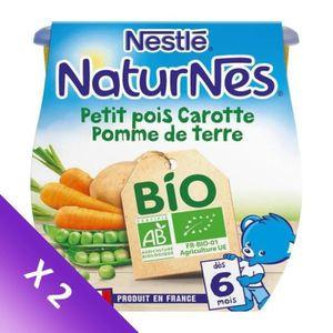 PLATS CUISINÉS NESTLÉ Lot de 2 Naturnes Bio Petit pois Carotte Po