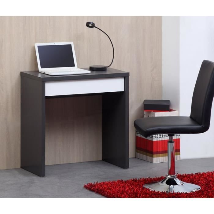 kobe bureau 110cm gris et blanc brillant achat vente bureau kobe bureau bois panneaux de. Black Bedroom Furniture Sets. Home Design Ideas