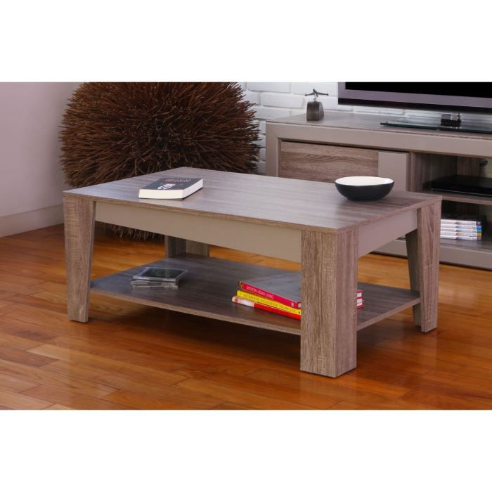 Calanque table basse d cor gris l100 cm achat vente table basse calanque - Table basse interiors ...