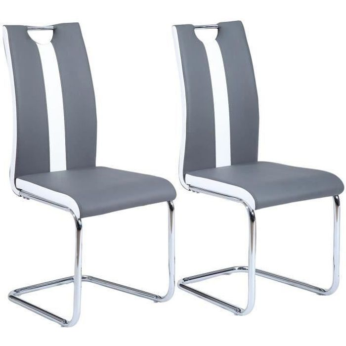 jade lot de 2 chaises de salle manger grises achat. Black Bedroom Furniture Sets. Home Design Ideas