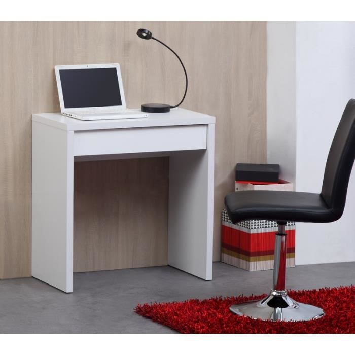 Kobe bureau 110cm blanc et blanc brillant achat vente for Bureau simple blanc