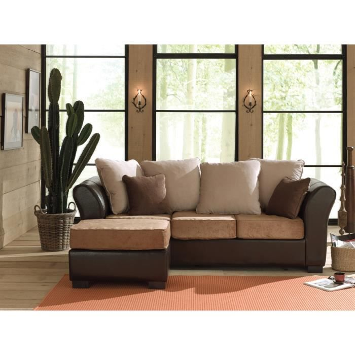 samba canap droit convertible pouf 4 places beige marron achat vente canap sofa. Black Bedroom Furniture Sets. Home Design Ideas