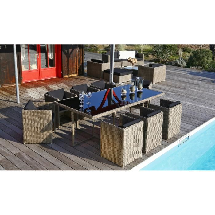 Ensemble table de jardin 8 places en r sine tress e aspect rotin et aluminium achat vente for Ensemble de jardin en resine tressee