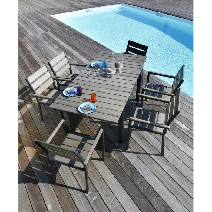 ensemble table extensible de jardin 120 180 cm 6 fauteuils aluminium et nowood gris clair. Black Bedroom Furniture Sets. Home Design Ideas