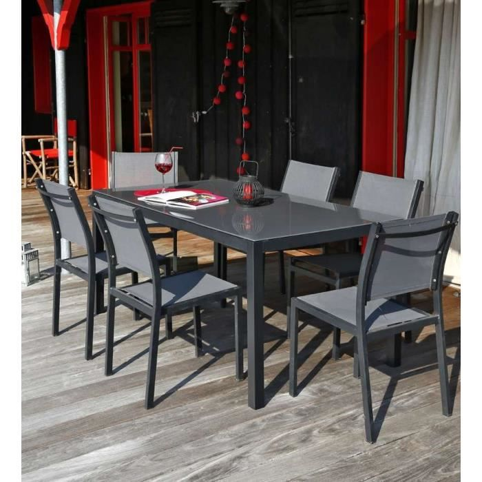 nice salon de jardin 6 places en aluminium gris achat vente salon de jardin table 180 6. Black Bedroom Furniture Sets. Home Design Ideas