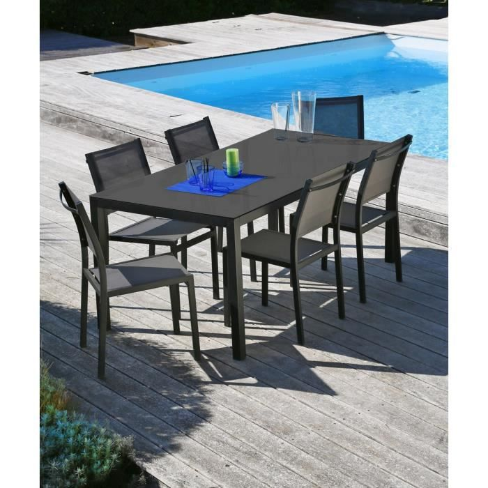 oman salon de jardin en aluminium 6 places noir achat vente salon de jardin table 160 6. Black Bedroom Furniture Sets. Home Design Ideas