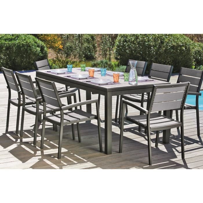 Corsi ensemble table extensible de jardin 8 places for Table extensible gris clair