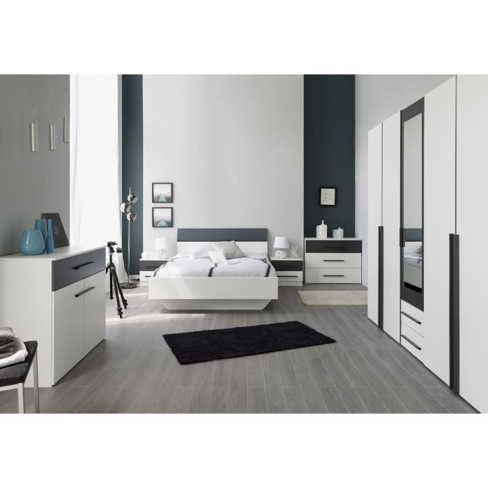 axel chambre compl te adulte 160cm blanc gris achat. Black Bedroom Furniture Sets. Home Design Ideas