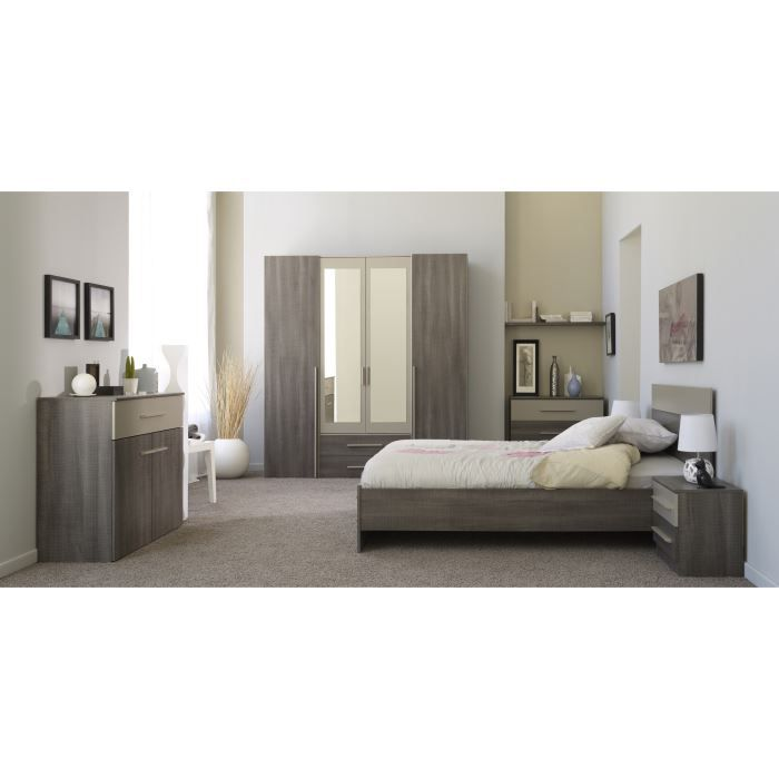Axel chambre compl te adulte 160 cm d cor r glisse et for Chambre complete adulte but