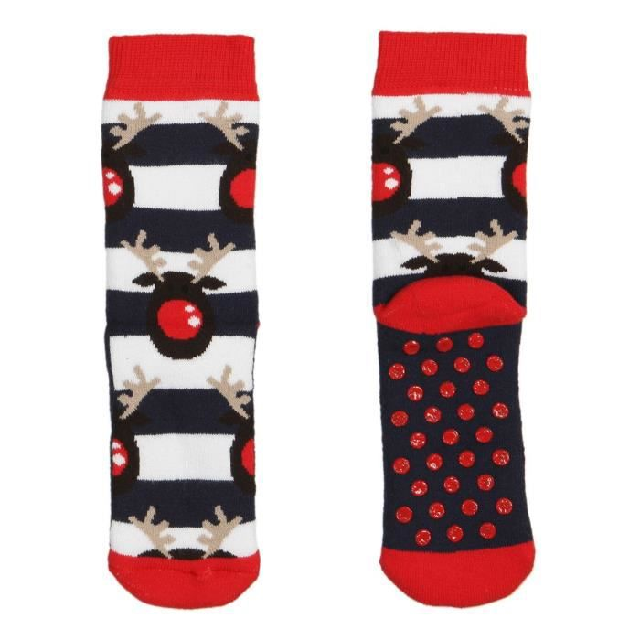 chaussettes noel bouclettes antid rapante enfant rouge marine et blanc achat vente. Black Bedroom Furniture Sets. Home Design Ideas
