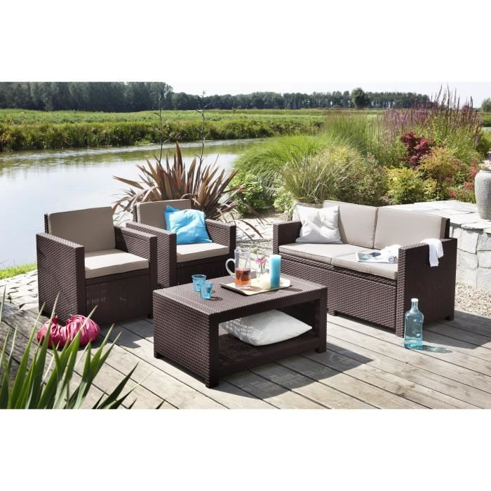Monaco salon de jardin 4 places aspect rotin tress marron achat vente - Salon de jardin sophie ...
