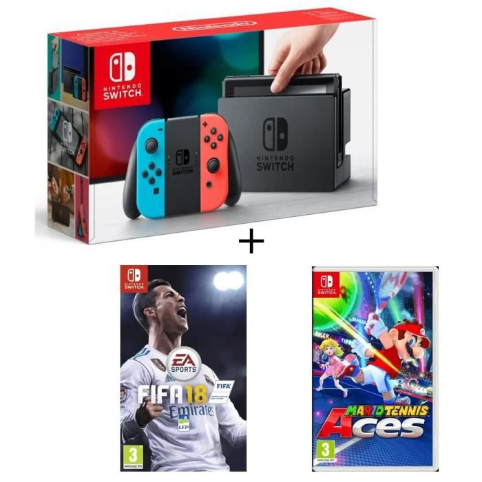 CONSOLE NINTENDO SWITCH Pack Nintendo Switch Néon + Fifa 18 + Mario Tennis