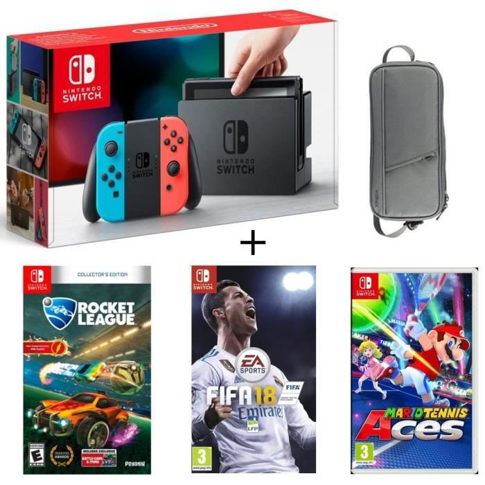 CONSOLE NINTENDO SWITCH Pack Nintendo Switch Néon + Fifa 18 + Rocket Leagu