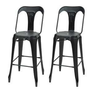tabouret de bar kraft claire lot de 2 chaises de bar en mtal noir - Tabouret De Bar Metal Industriel