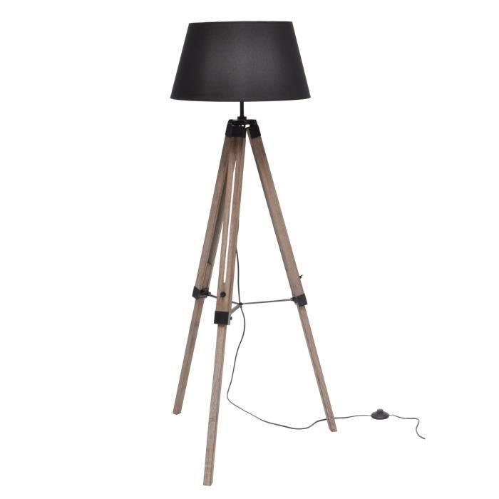 nature lampadaire bois noir abat jour noir achat vente. Black Bedroom Furniture Sets. Home Design Ideas