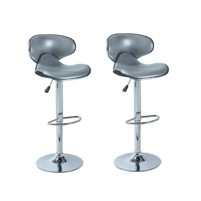 tabouret bar gris argent pas cher. Black Bedroom Furniture Sets. Home Design Ideas
