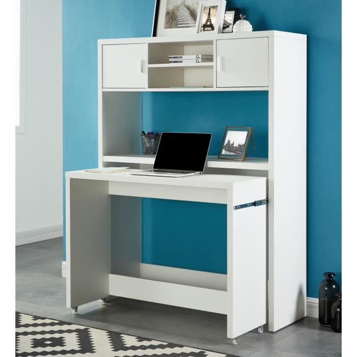 concept bureau extensible avec rehausse contemporain blanc l 110 cm achat vente bureau. Black Bedroom Furniture Sets. Home Design Ideas