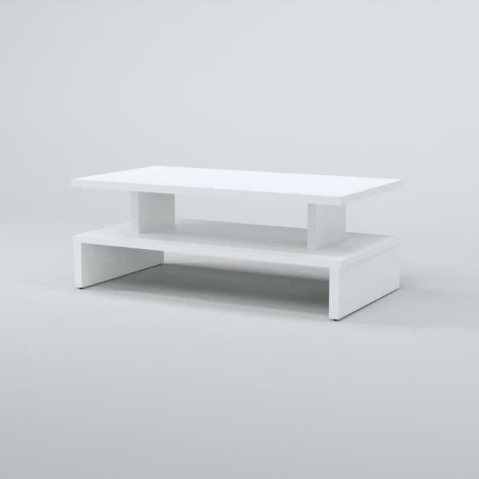 After Table Basse Style Contemporain D Cor Blanc L 97 X L 51 Cm Achat Vente Table Basse