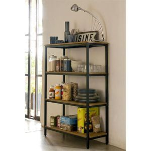 bibliotheque etagere bois metal achat vente bibliotheque etagere bois metal pas cher cdiscount. Black Bedroom Furniture Sets. Home Design Ideas