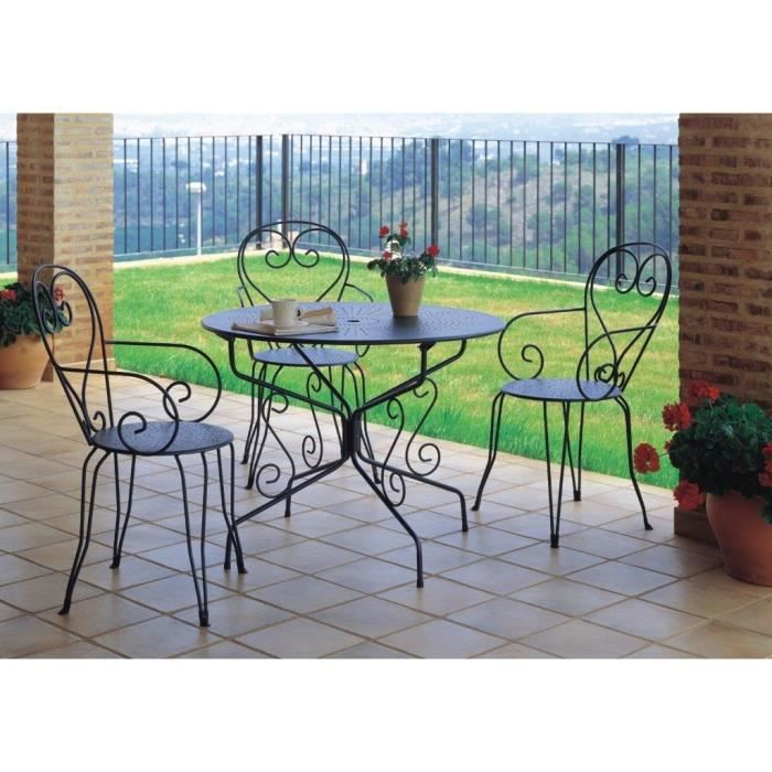 table de jardin romantique en fer forg avec trou central pour parasol 95 cm vert gris. Black Bedroom Furniture Sets. Home Design Ideas