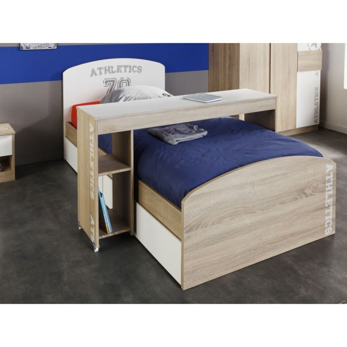 college desserte pour lit enfant d cor ch ne blanc achat vente structure de lit college. Black Bedroom Furniture Sets. Home Design Ideas