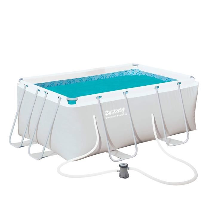bestway kit piscine rectangulaire tubulaire steel pro 287x201x1m