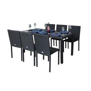 Ensemble table et chaise de jardin IBIZASET2 Ensemble table avec verre trempé + 6 cha