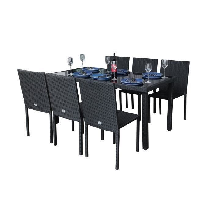 SALON DE JARDIN  IBIZASET2 Ensemble table avec verre trempé + 6 cha