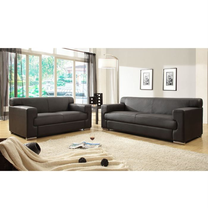 Cubo ensemble de canap s fixes cro te de cuir et simili 3 2 places 193x89 - Canape 3 places et 2 places ...
