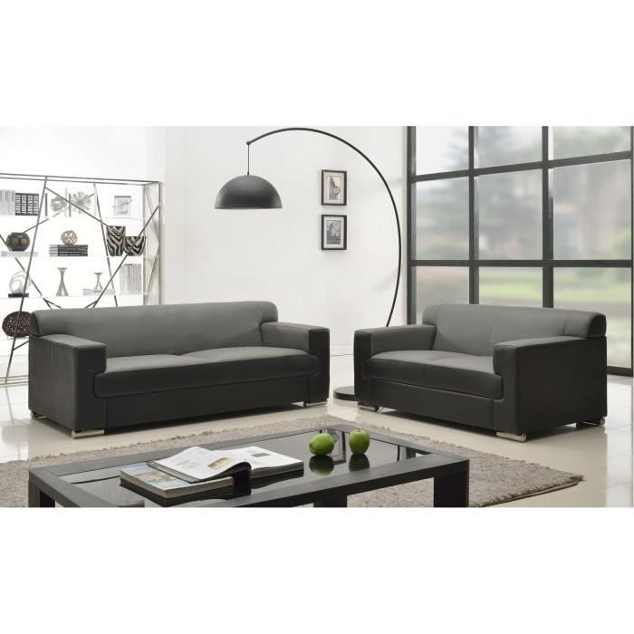 Cubo ensemble canap s droits 3 2 places cuir buffle gris et simili noir ach - Canape 3 places et 2 places ...