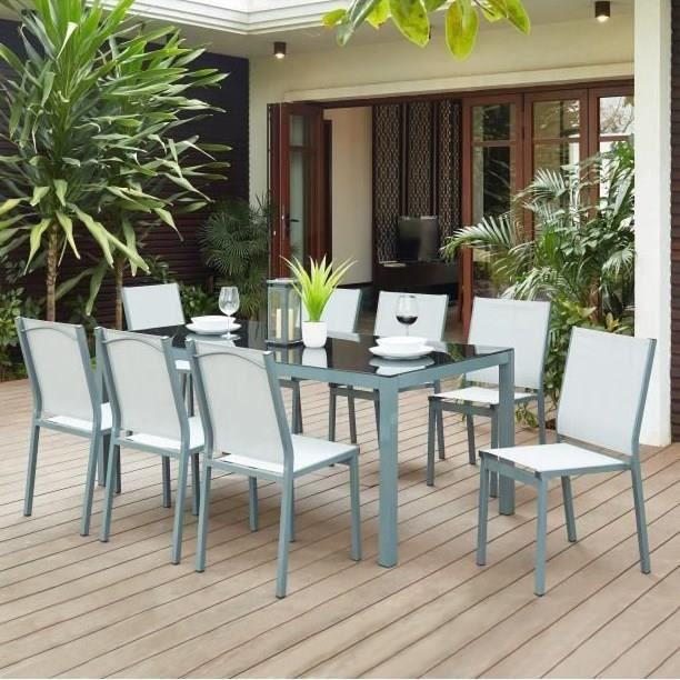 TAHITISET2 Ensemble table avec plateau en verre trempé et 8 chaises en  aluminium et textilène - 180 x 90 x 73 cm
